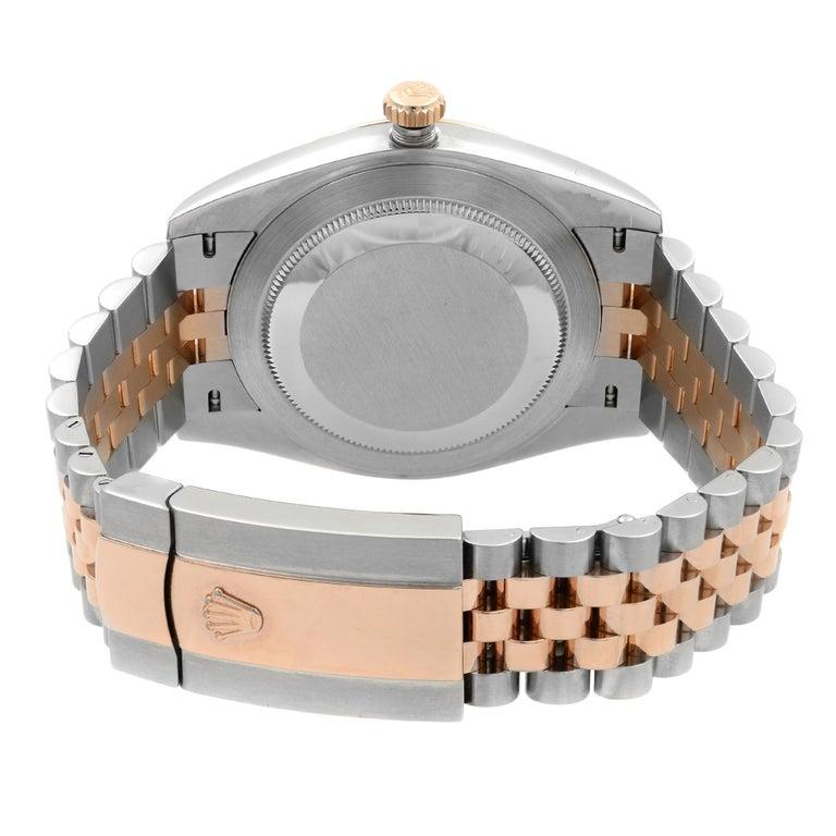 Rolex Datejust 41 Steel 18K Rose Gold Chocolate Diamond Dial Men's Watch 126331 For Sale 2