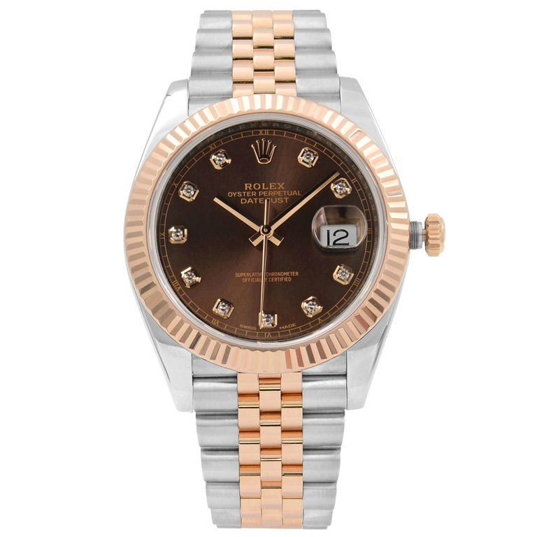 Rolex Datejust 41 Steel 18K Rose Gold Chocolate Diamond Dial Men's Watch 126331 For Sale