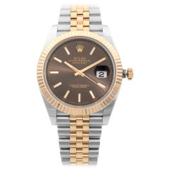 Rolex Datejust 41 Steel 18K Rose Gold Jubilee Chocolate Dial Men's Watch 126331