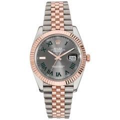 Rolex Datejust 41 Steel 18K Rose Gold Wimbledon Roman Dial Men's Watch 126331