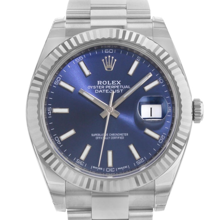 This brand new Rolex Datejust 41 126334 is a beautiful men's timepiece that is powered by mechanical (automatic) movement which is cased in a stainless steel case. It has a round shape face, date indicator dial and has hand sticks style markers. It