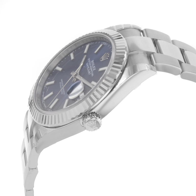 Rolex Datejust 41 Steel 18K White Gold Blue Dial Automatic Mens Watch 126334blio In New Condition For Sale In New York, NY