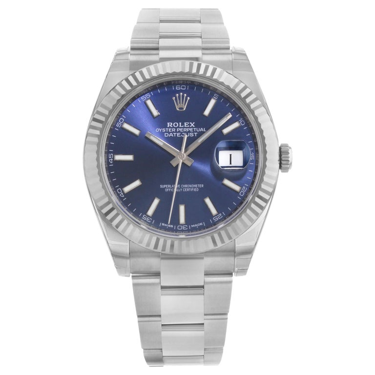 Rolex Datejust 41 Steel 18K White Gold Blue Dial Automatic Mens Watch 126334blio For Sale