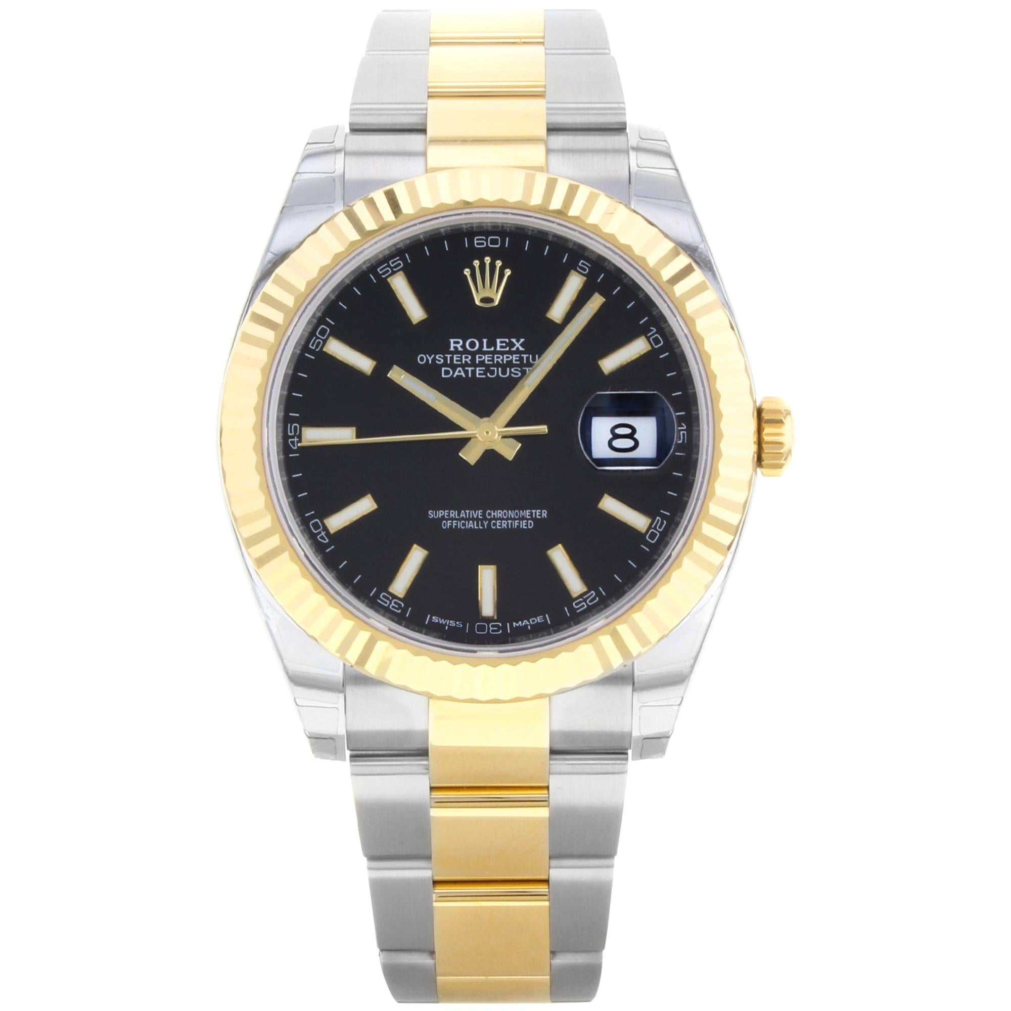 Rolex Datejust 41 Steel 18K Yellow Gold Black Dial Automatic Men's Watch 126333