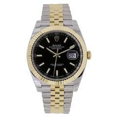 Rolex Datejust 41 Steel 18 Karat Gold Black Dial Automatic Men's Watch 126333