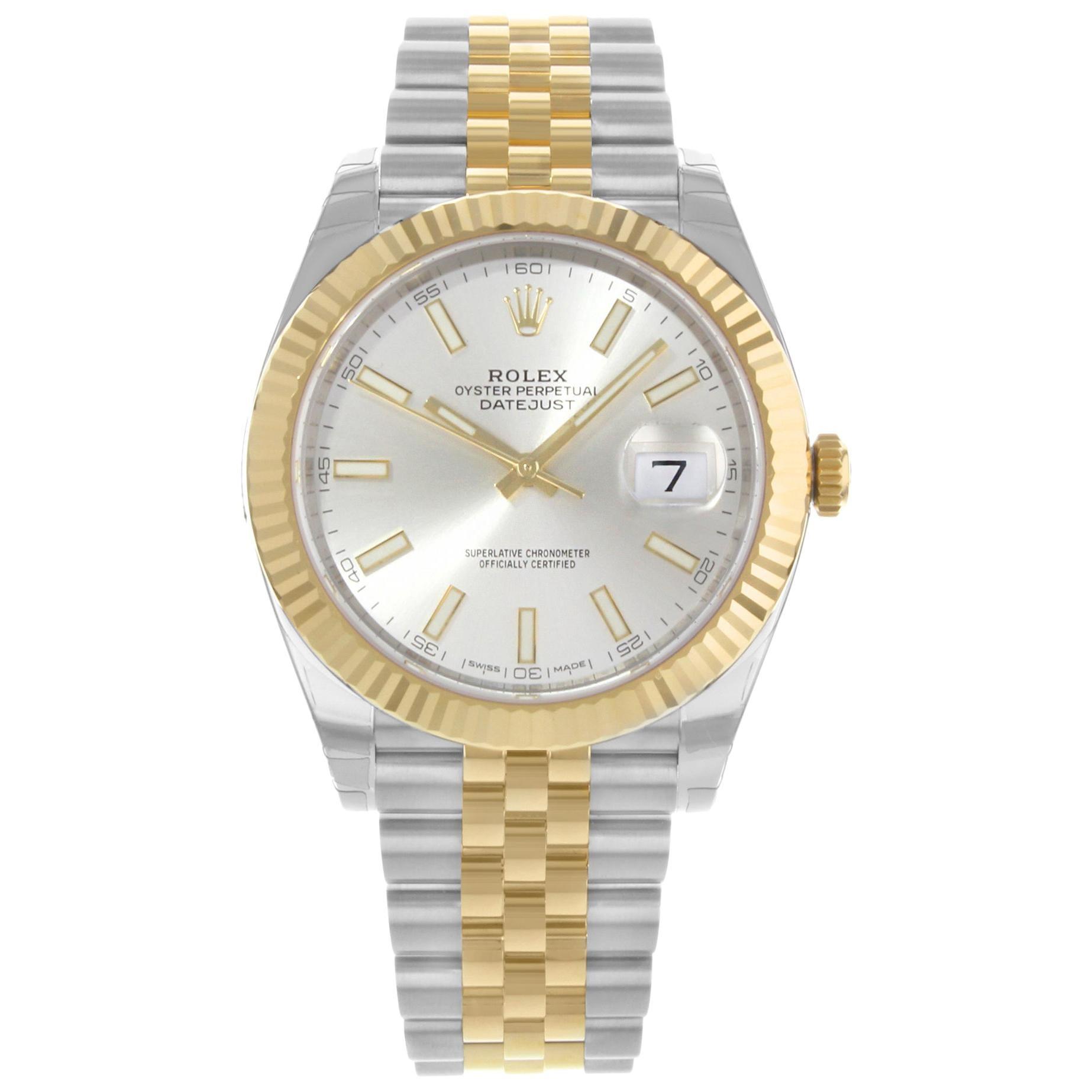 Rolex Datejust 41 Steel 18k Yellow Gold Silver Dial Jubilee Men's Watch 126333