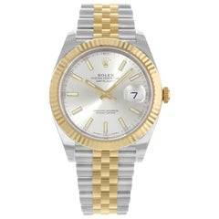 Rolex Datejust 41 Steel 18k Yellow Gold Silver Dial Jubilee Men's Watch 126333