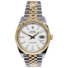 Rolex Datejust 41 Steel 18K Yellow Gold White Dial Jubilee Men's Watch 126333