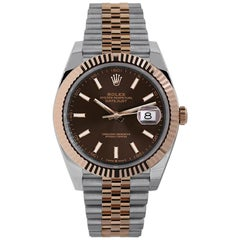 Rolex Datejust 41 Steel and Rose Gold Chocolate Index Dial Watch 126331