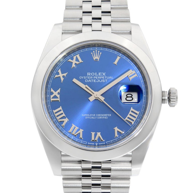 This brand new Rolex Datejust 41 126300  is a beautiful men's timepiece that is powered by a mechanical (automatic) movement which is cased in a stainless steel case. It has a round shape face, date indicator dial, and has hand roman numerals style