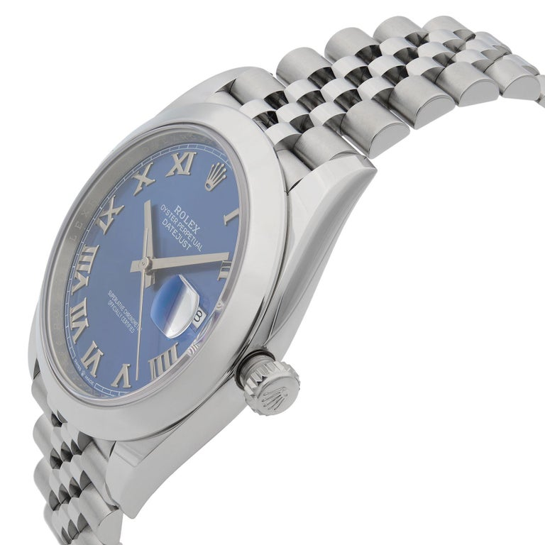 Rolex Datejust 41 Steel Blue Roman Dial Jubilee Automatic Men's Watch 126300 In New Condition For Sale In New York, NY