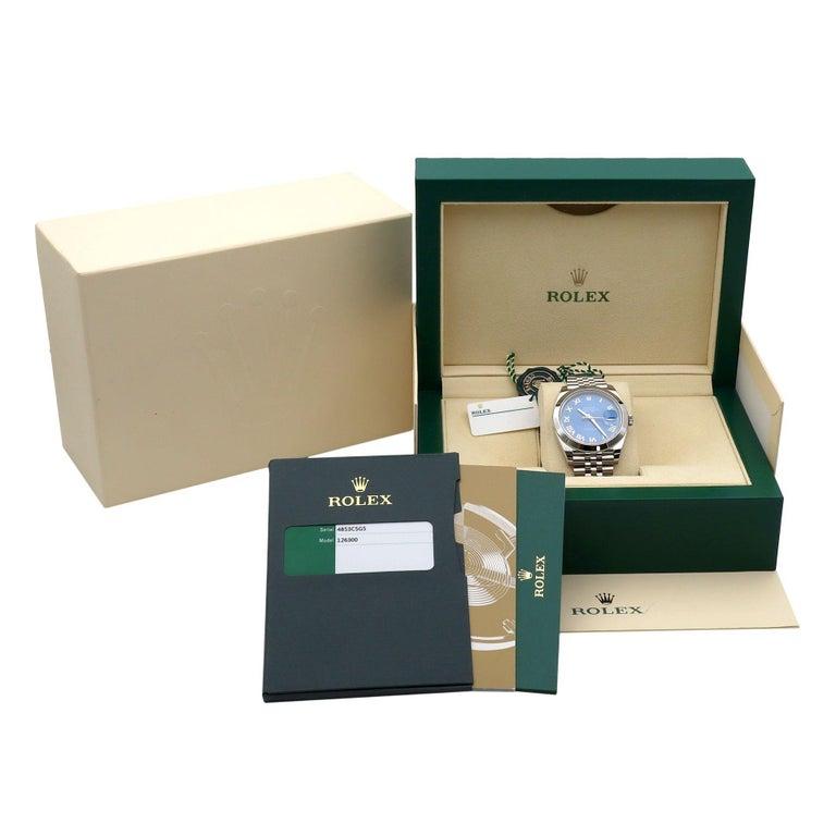 Rolex Datejust 41 Steel Blue Roman Dial Jubilee Automatic Men's Watch 126300 For Sale 4