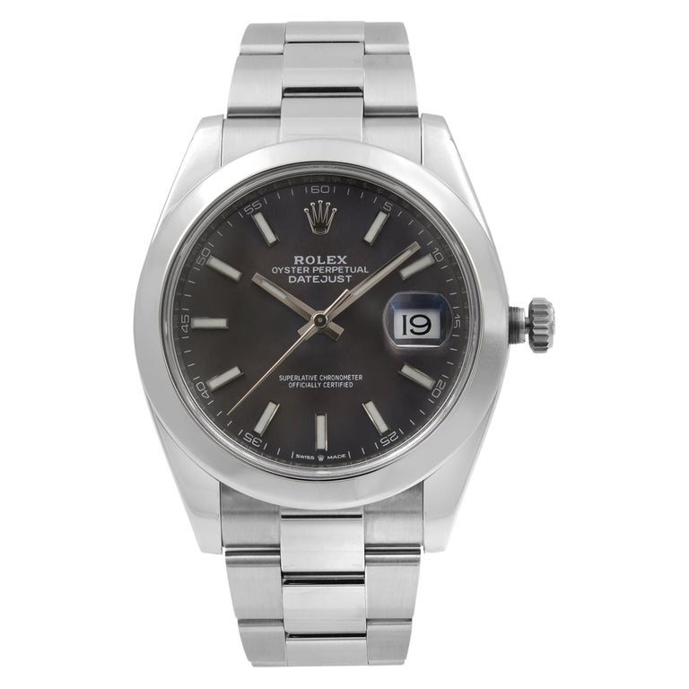 Rolex Datejust 41 Steel Dark Rhodium Dial Automatic Men's Watch 126300 For Sale