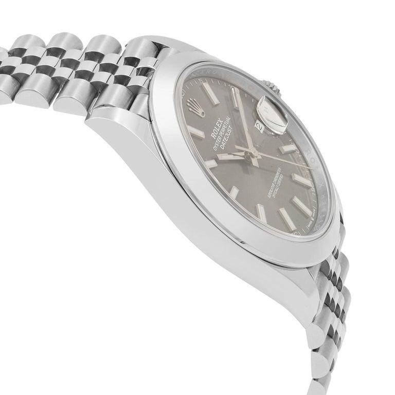 Rolex Datejust 41 Steel Dark Rhodium Dial Jubilee Men's Watch 126300 In New Condition In New York, NY