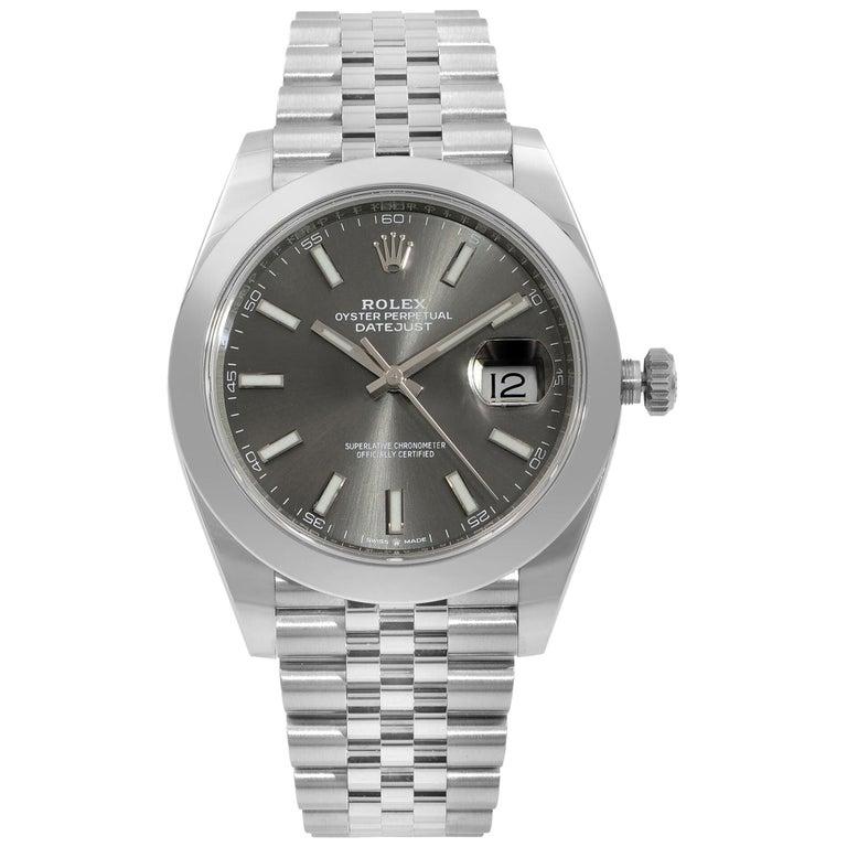 Rolex Datejust 41 Steel Dark Rhodium Dial Jubilee Men's Watch 126300