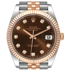 Rolex Datejust 41 Steel Everose Gold Chocolate Diamond Dial Watch 126331