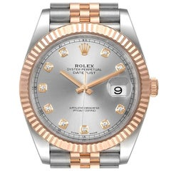 Rolex Datejust 41 Steel Everose Gold Diamond Dial Men's Watch 126331