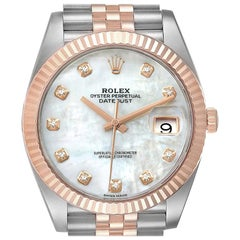 Rolex Datejust 41 Steel Everose Gold Diamond Dial Watch 126331 Box Card