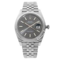 Rolex Datejust 41 Steel Gold Bezel Jubilee Band Rhodium Dial Men Watch 126334