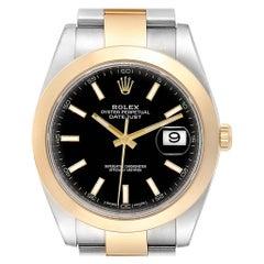 Rolex Datejust 41 Steel Rose Gold Black Dial Men's Watch 126303 Box Card