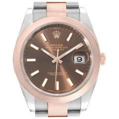 Rolex Datejust 41 Steel Rose Gold Brown Dial Men's Watch 126301 Box Card