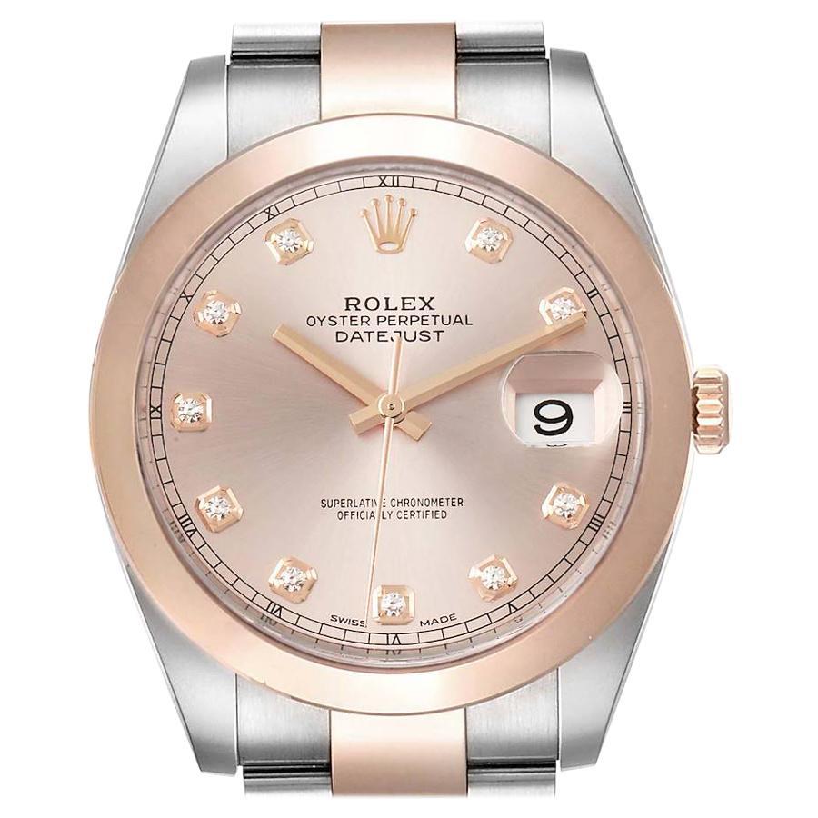 Rolex Datejust 41 Steel Rose Gold Diamond Dial Men's Watch 126301 Box Card