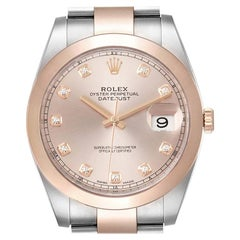 Rolex Datejust 41 Steel Rose Gold Diamond Dial Men's Watch 126301 Box Card