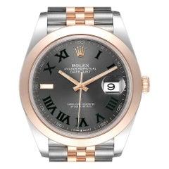 Rolex Datejust 41 Steel Rose Gold Grey Green Dial Men's Watch 126301 Unworn