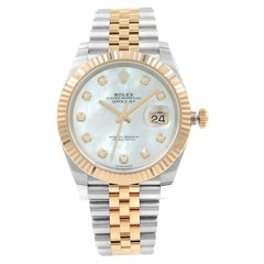 Rolex Datejust 41 Steel Rose Gold MOP Diamond Dial Automatic Men's Watch 126331
