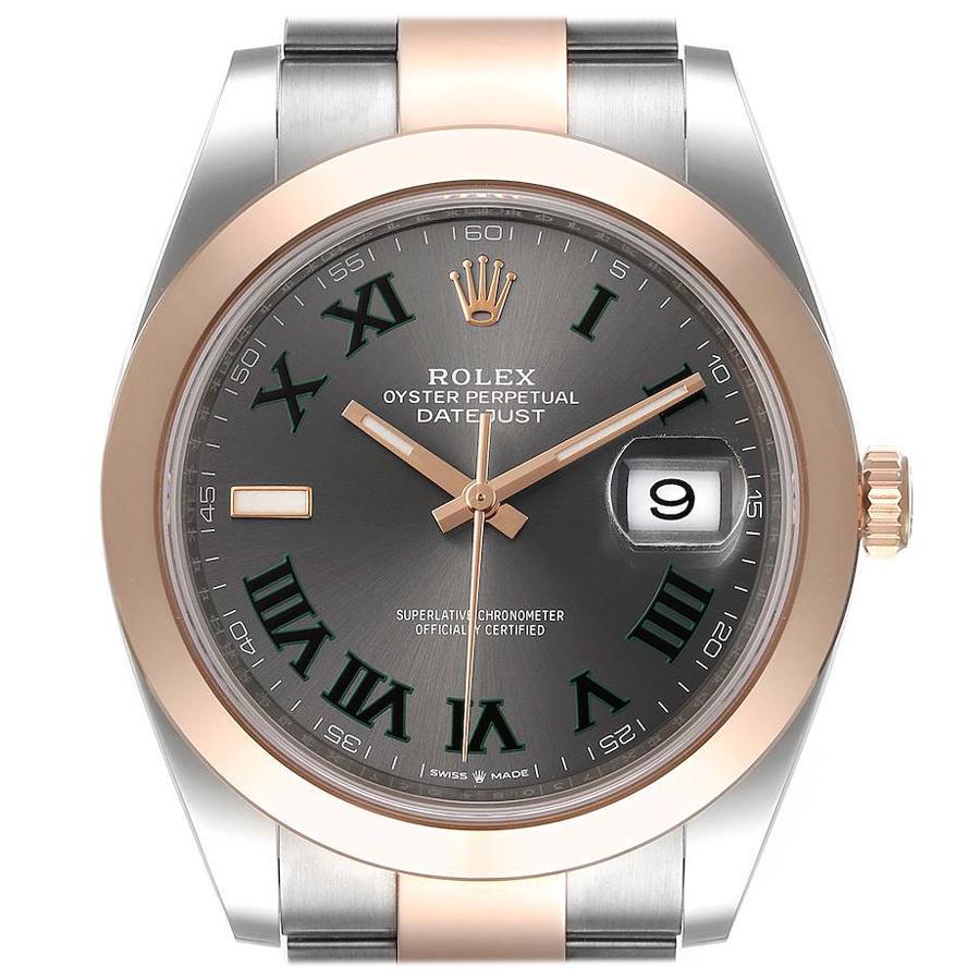 Rolex Datejust 41 Steel Rose Gold Wimbledon Dial Mens Watch 126301 Unworn