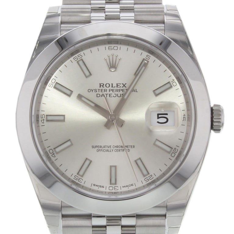 This brand new Rolex Datejust 41 126300 sij  is a beautiful men's timepiece that is powered by mechanical (automatic) movement which is cased in a stainless steel case. It has a round shape face, date indicator dial and has hand sticks style