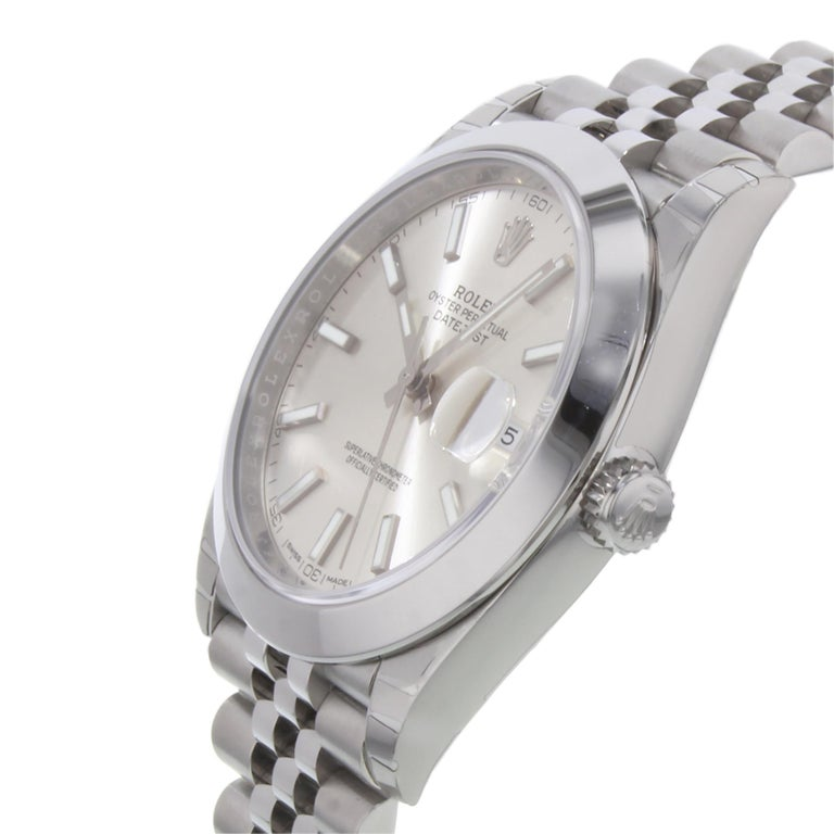 Rolex Datejust 41 Steel Silver Index Dial Automatic Men's Watch 126300 sij In New Condition In New York, NY