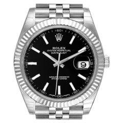 Rolex Datejust 41 Steel White Gold Black Dial Men's Watch 126334 Unworn