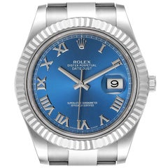 Rolex Datejust 41 Steel White Gold Blue Dial Men's Watch 116334 Box Card