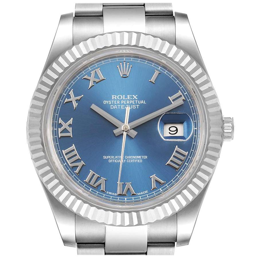 Rolex Datejust 41 Steel White Gold Blue Dial Men's Watch 116334 Box Card