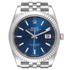 Rolex Datejust 41 Steel White Gold Blue Dial Men's Watch 126334 Box Card