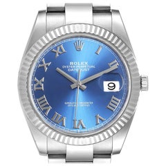 Rolex Datejust 41 Steel White Gold Blue Dial Steel Men's Watch 126334 Unworn