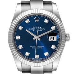 Rolex Datejust 41 Steel White Gold Diamond Mens Watch 126334 Box Card