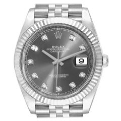 Rolex Datejust 41 Steel White Gold Diamond Men's Watch 126334 Unworn