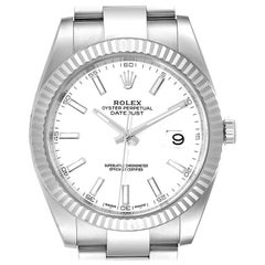 Rolex Datejust 41 Steel White Gold Fluted Bezel Men's Watch 126334 Box Card