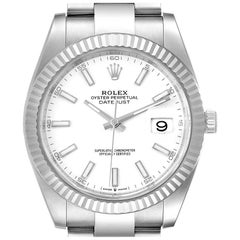 Rolex Datejust 41 Steel White Gold Fluted Bezel Men's Watch 126334 Unworn