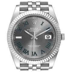 Rolex Datejust 41 Steel White Gold Green Numerals Men's Watch 126334 Box Card