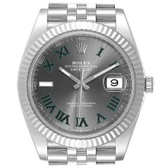 Rolex Datejust 41 Steel White Gold Green Numerals Men's Watch 126334