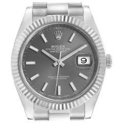 Rolex Datejust 41 Steel White Gold Rhodium Dial Men's Watch 126334