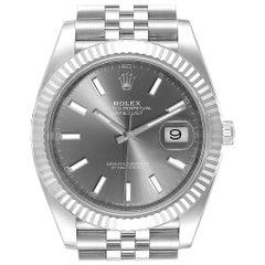 Rolex Datejust 41 Steel White Gold Rhodium Dial Watch 126334 Box Card
