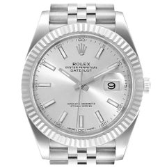 Rolex Datejust 41 Steel White Gold Silver Dial Men's Watch 126334