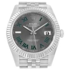 Rolex Datejust 41 Steel White Gold Slate Roman Dial Men's Watch 126334