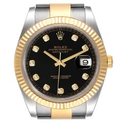 Rolex Datejust 41 Steel Yellow Gold Black Diamond Dial Watch 126333 Box Card