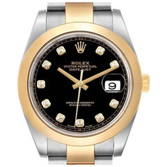 Rolex Datejust 41 Steel Yellow Gold Diamond Men's Watch 126303 Box Card