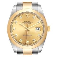 Rolex Datejust 41 Steel Yellow Gold Diamond Men's Watch 126303 Box Card